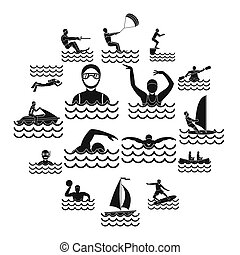 Water sport icons set, simple style