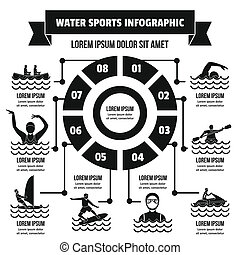 Water sport infographic concept, simple style