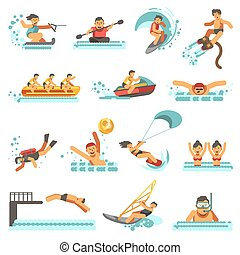 Water sport summer activities vector flat icons set