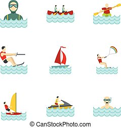 Water sports icons set, flat style