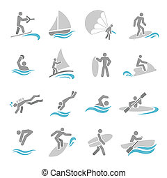Water sports icons set with rowing rafting swimming people...