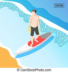 Water Sports Isometric Background