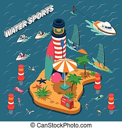 Water Sports Isometric People Composition