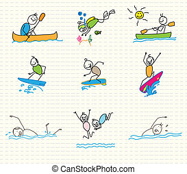 water sports vector doodle editable vector