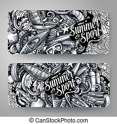 Water sports vector hand drawn doodle banners design.