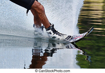 Water Sports - Water Skiing - A close up of a slalom water...