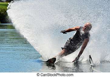 Water Sports - Water Skiing - A water skier in his 60's...