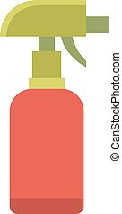 Colorful foggy spray bottle clean plastic hygiene container chemical or water sprayer disinfectant flat.