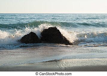 Water Spray Off Rocks