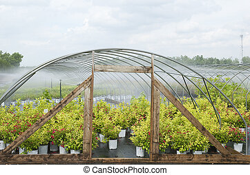 Water spray  system in greenhouse