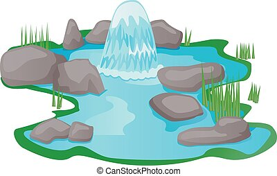 Water spring pond vector - Vector illustration of a small ...