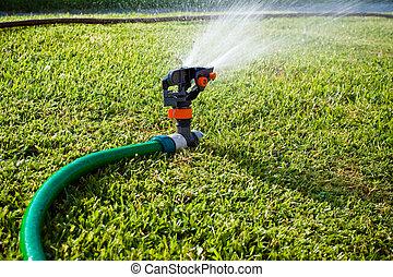 Water sprinkler - Lawn sprinkler spraying water on the grass