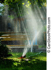 Water sprinkler working in summer