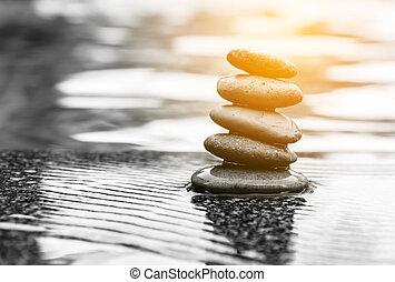 water, steen, sereniteit, leven, lelie, zen, pool., zacht, light., spa, brandpunt, nog