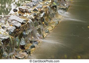water, stenen, door, flowed