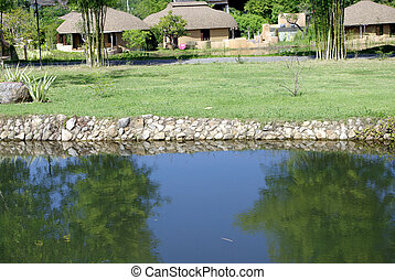water stone edge landscape detail