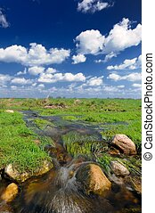 Water Stream in the Field and Blue Sky