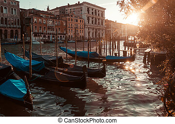 water street with Gondola in Venice, ITALY
