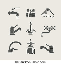 water-supply, 水龍頭, 混和器, 輕拍, 閥門, 為, 水, 集合, 圖象