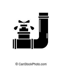 Water supply black icon, vector sign on isolated background. Water supply concept symbol, illustration