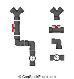 Water supply system with pipe connectors set.