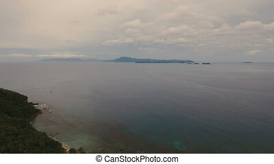 Water surface aerial view in stormy weather. Catanduanes island Philippines.