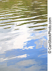 Water surface texture with ripples and vegetation, sky reflection