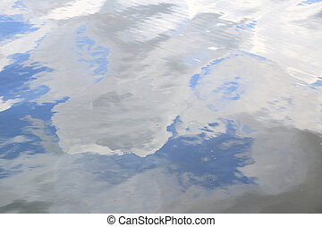 Water surface texture with soft ripples and sky reflection