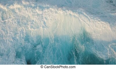 Water surface with big waves, aerial view.Bali. - Aerial...