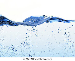 water surface with bubbles and waves