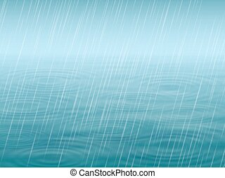 Autumn background. Water surface with wave and circles, falling rain. Vector realistic illustration.
