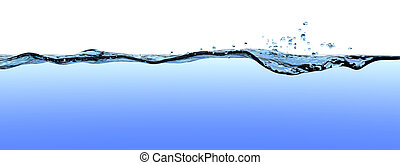 Turbulent water surface with waves, ripples, and drops on a blue gradient with white copyspace above the surface.