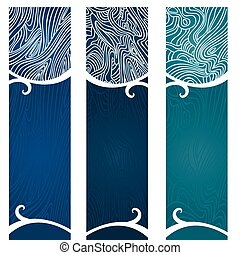 Vector art in Illustrator 8. Banners with swirly, flowing graphic depiction of water and the organic nature of water.