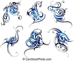 Water swirls - Water abstraction. Set of six liquid...