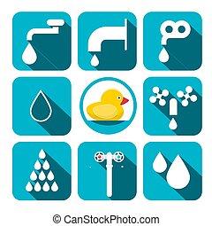 Water Symbols Set. Vector Aqua Icons in Blue Squares.