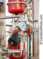 water system Boiler room equipments - Closeup of manometer,...