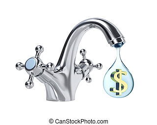 Water tap and drop of water with dollar sign inside - Water...