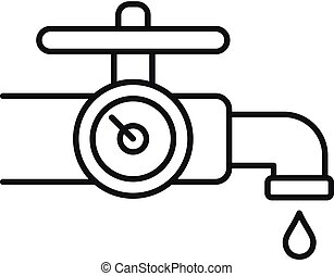 Water tap control icon, outline style - Water tap control...