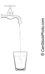 water tap - a water tap with realistic flowing water,...