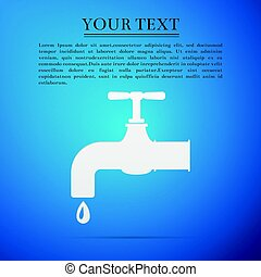 Water tap flat icon on blue background. Vector Illustration