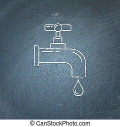Water tap icon chalkboard sketch