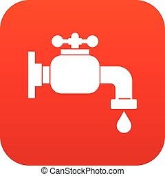 Water tap icon digital red