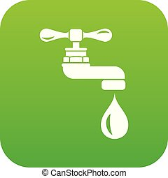 Water tap icon green vector