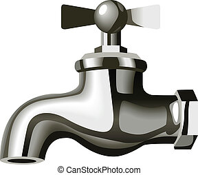 Water Tap - Illustration of a chrome water tap isolated on...