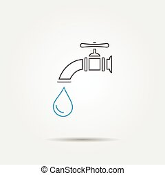 Water tap line icon, vector