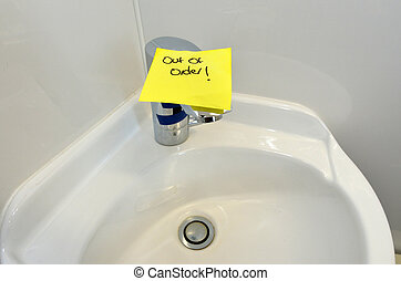 Water tap out of order.