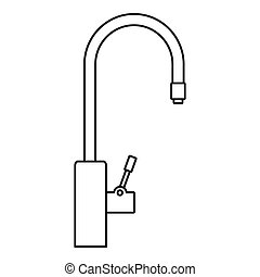 Water tap purification icon, outline style