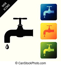 Water tap with a falling water drop icon isolated on white background. Set icons colorful square buttons. Vector Illustration