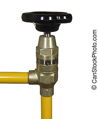Water tap with black handle and yellow pipes isolated on white background.