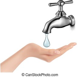 Water tap with drop and hand. Vector illustration.